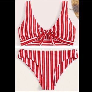 COPY - CupShe Red & White Striped Bikini Swimsuit.